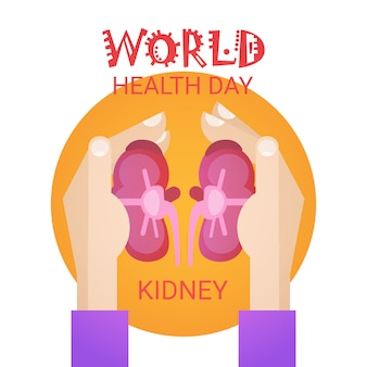 Hand hold kidney health world day global holiday banner greeting card