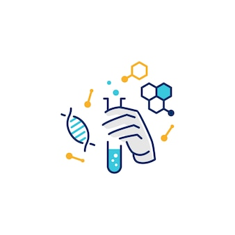 Hand hold laboratory glassware logo illustrative icon