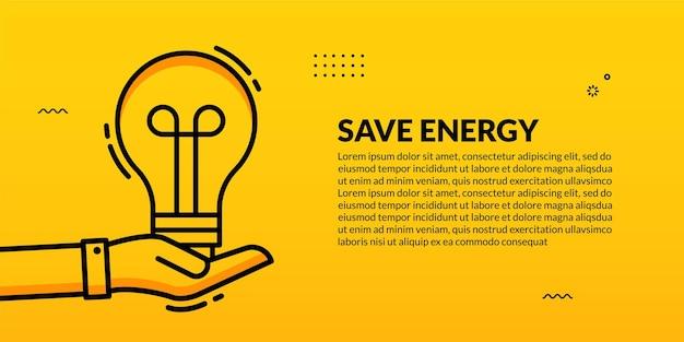 Рука держит лампочку на желтом, эко энергосберегающий шаблон обложки для социальных сетей