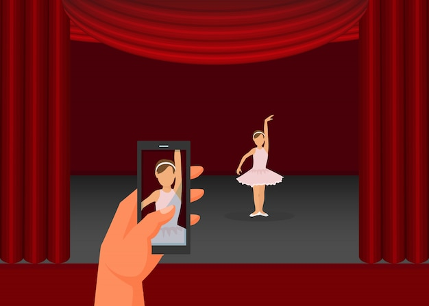 Hand hold mobile phone, father record video daughter performance flat vector illustration. little girl dance ballet, scene red curtains.