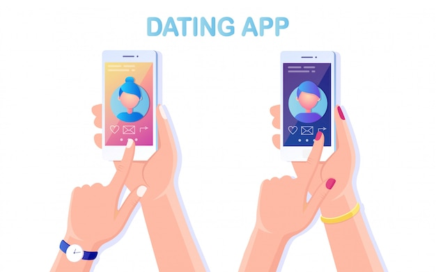디스플레이에 데이트 앱 프로필이있는 휴대 전화를 손으로 잡습니다. 사랑 찾기 신청. 검색 커플을위한 사이트.