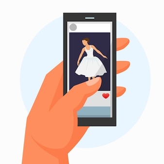 手は、白、フラットのベクトル図に分離されたビデオバレリーナダンスと携帯電話を保持します。キャラクターの女性のファッションのドレス。