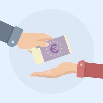 Hand hold money bills illustration