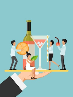 Hand hold platter with tiny character male, female waiter flat illustration. restaurant waiter decorate bottle wine and glasses orange slice cherry.