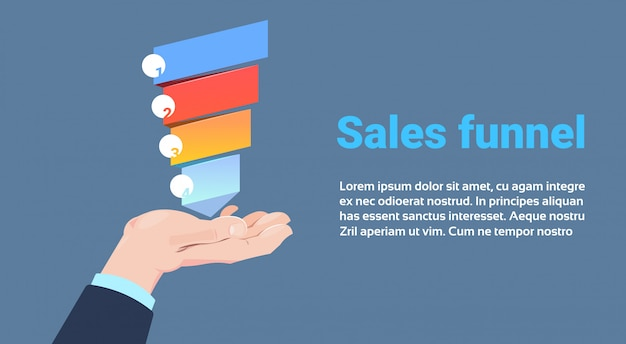 Hand hold sales funnel with steps stages business infographic. purchase diagram concept