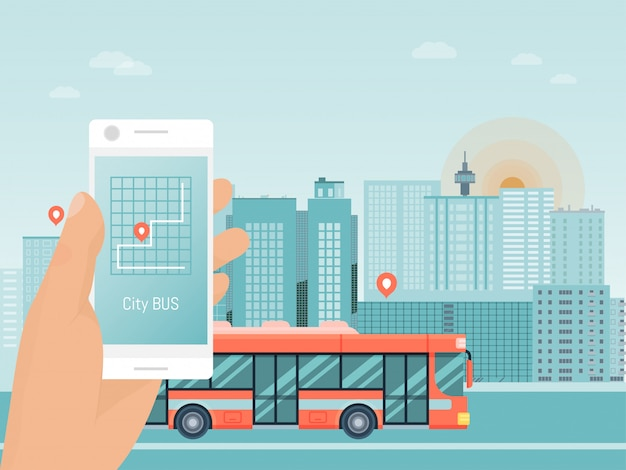 Hand hold smart phone app, city bus travel tour, autobus mobile application flat illustration. street coach urban guided tour trip.