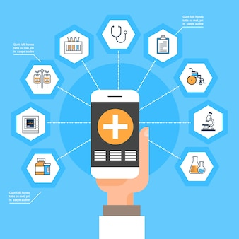 Hand hold smart phone with medical application medicine icons social network online treatment concep