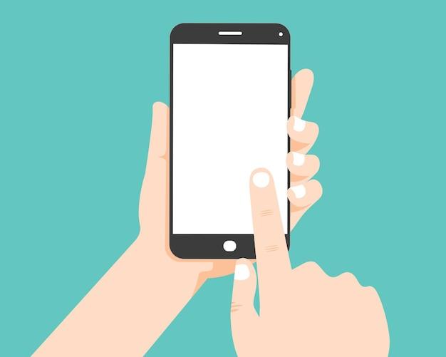 ハンドホールドスマートフォンと手が空白の画面に触れる