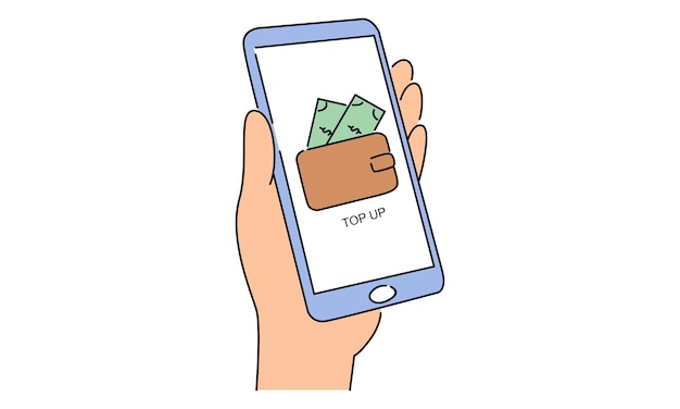 Hand hold smartphone. mobile wallet account