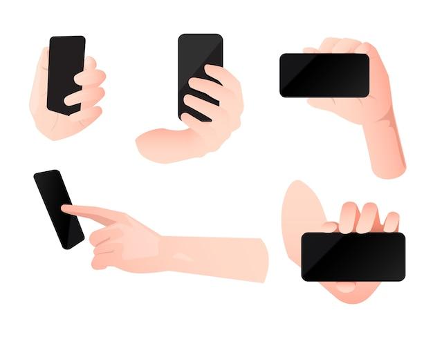 Hand hold smartphone symbol