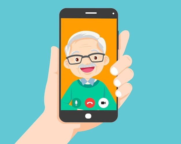 Hand hold smartphone video call with grandfather