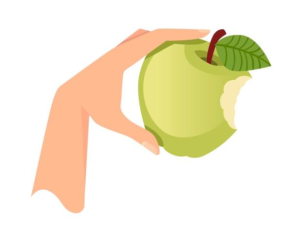 Рука держать зеленое укушенное яблоко плоской векторной иллюстрации, изолированной на белом фоне.