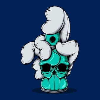 Держите в руке баллончик со спреем для черепа