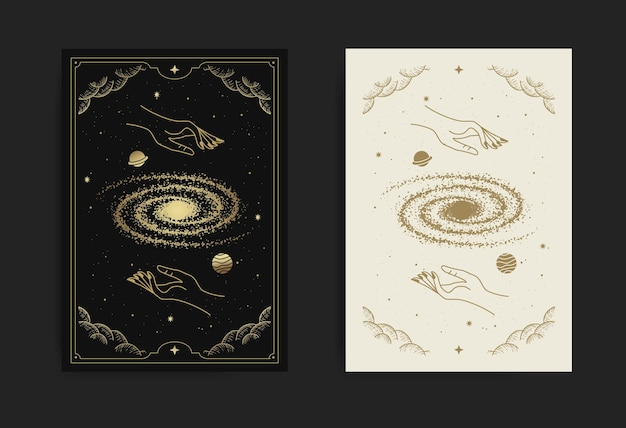 Hand hold universe or outer space card, with engraving, luxury, esoteric, boho, spiritual, geometric, astrology, magic themes, for tarot reader card. premium vector