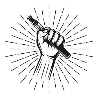 Рука держать vape pen или электронную сигарету с лучами векторной черной иллюстрацией в винтажном стиле, декоративным объектом, изолированным на белом фоне