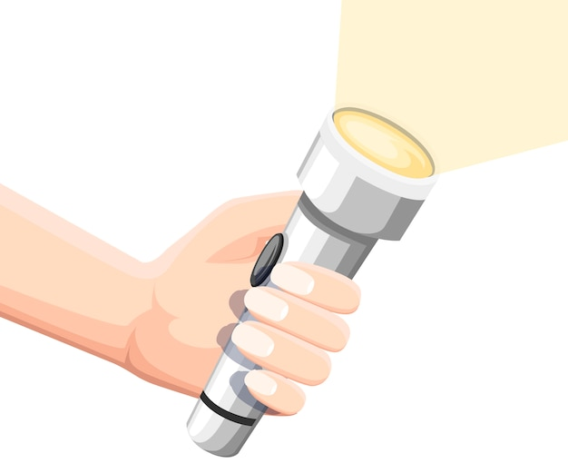 Hand hold white shining flashlight. metal flashlight with on off button. flat illustration isolated on white background.