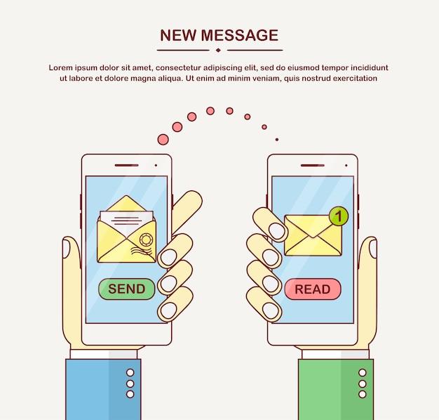 손을 잡고 흰색 스마트 폰 메시지 알림, 보내기 버튼, 화면에 닫힌 봉투. 새 이메일에 대한 휴대폰 경고. 보내고받은 sms 개념