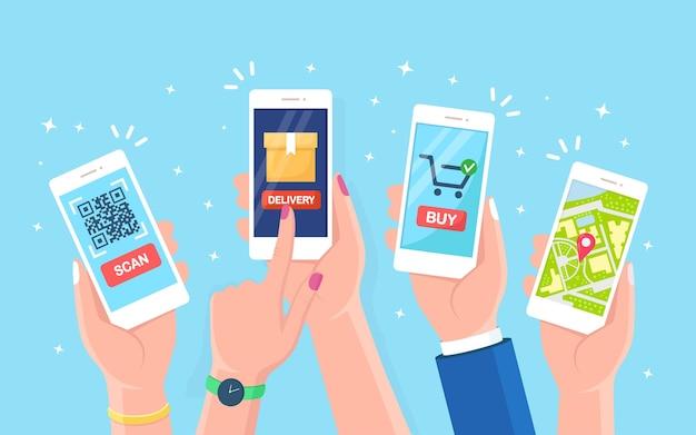손을 잡고 스캔 qr 코드 앱, 모바일 바코드 리더, 스캐너가있는 흰색 스마트 폰. 온라인 쇼핑, 배송. gps 네비게이션 기능이있는 휴대폰, 휴대폰 디자인으로 전자 디지털 결제 추적