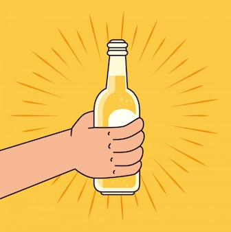 Рука держит бутылку пива, на желтом фоне
