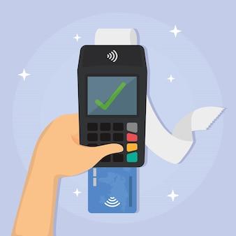 Рука телефон с квитанцией