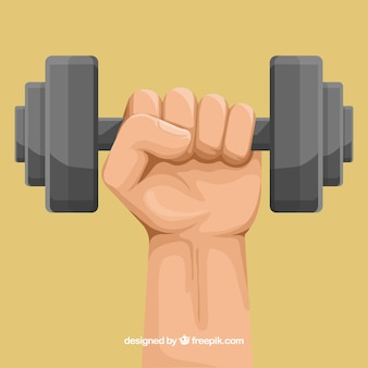 Hand holding a dumbbell background