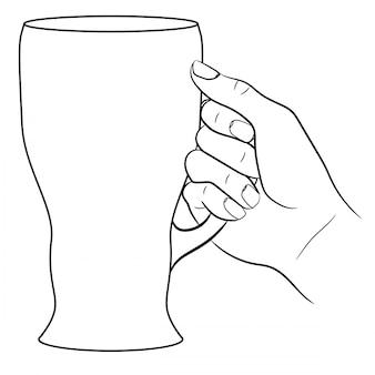 Рука с бокалом пива из монохромных векторных иллюстраций