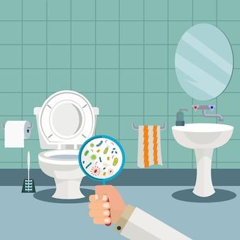 Рука с увеличительным стеклом, показывающим бактерии в туалете, туалет, гигиена в ванной комнате