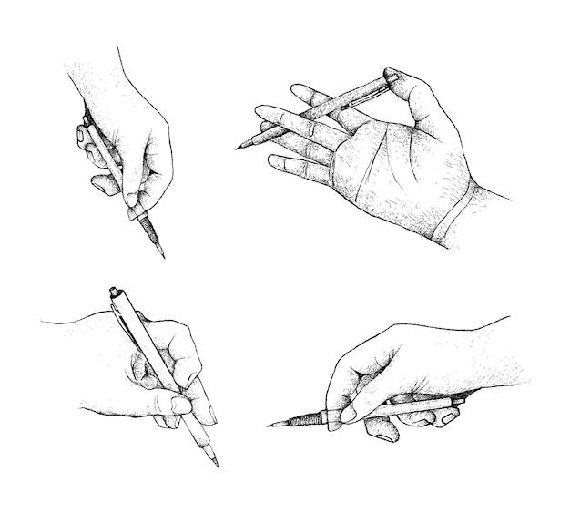 Рука, держащая ручку подготовка к письму