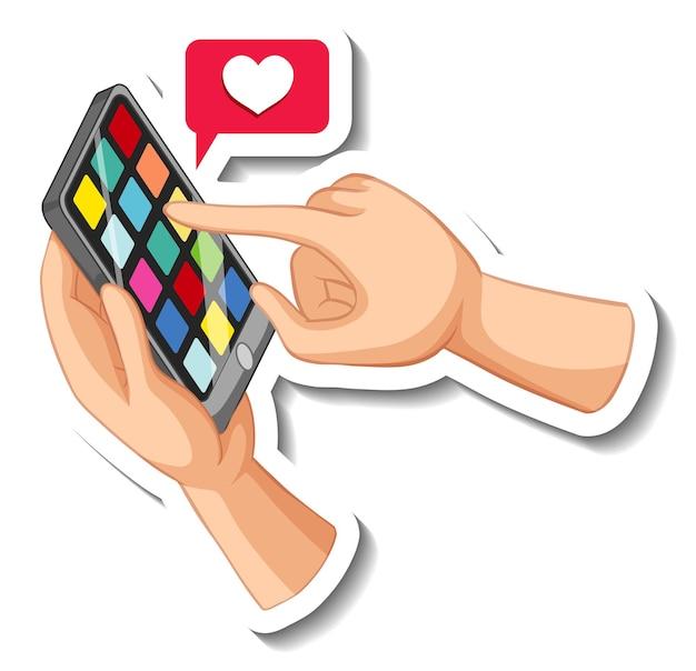 Рука смартфон со значком сердца emoji на белом фоне