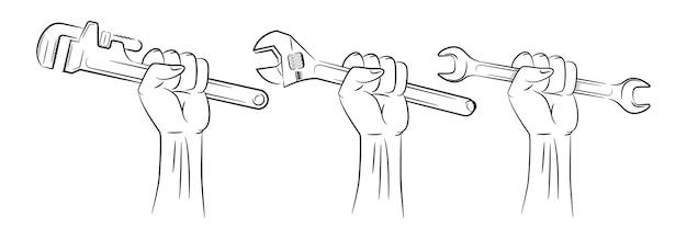 Рука держит гаечный ключ логотип набор