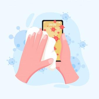 Рука держит и чистит экран мобильного телефона с салфеткой в плоском стиле. оставаться в безопасности для защиты коронавируса. концепция вспышек и пандемических атак на ковид-19.