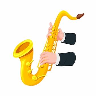 Рука держит и играет символ саксофона в мультяшном стиле иллюстрации на белом фоне