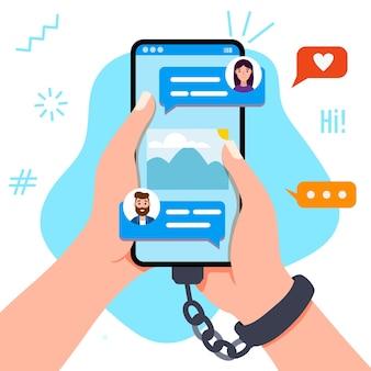 Рука, держащая и касающаяся смартфона с символом электронной почты на экране, вектор наркомании гаджета