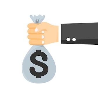 Hand holding bag money