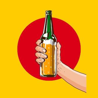 Hand holding beer bottle in  illustration