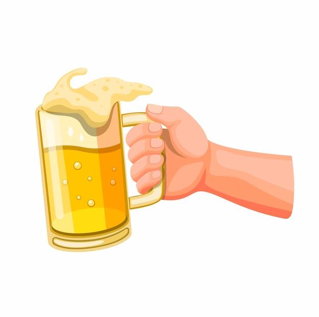 Рука пиво в стеклянной кружке, тост и развеселить символ в иллюстрации шаржа, изолированных на белом фоне