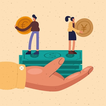 Hand holding bills with businessman and businesswoman with coins design