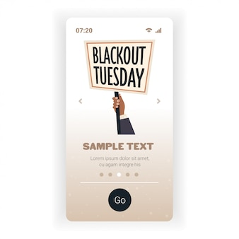 손 들고 정전 화요일 배너 블랙 생활 문제 인종 차별에 대 한 캠페인
