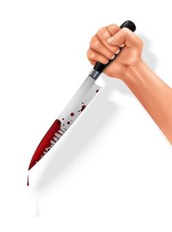 肉を切るための血まみれの肉切り包丁を持っている手ステンレス鋼黒ハンドルクローズアップリアルな画像イラスト Premiumベクター