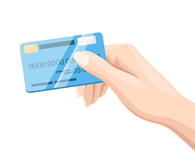 Hand holding blue credit card for online payment and shopping  style  illustration  on white background