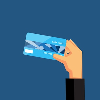Hand holding blue credit card vector design