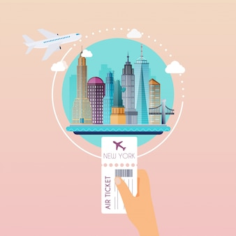 Hand holding boarding pass at airport to new york. traveling on airplane, planning a summer vacation, tourism and journey objects and passenger luggage.   modern  illustration concept.
