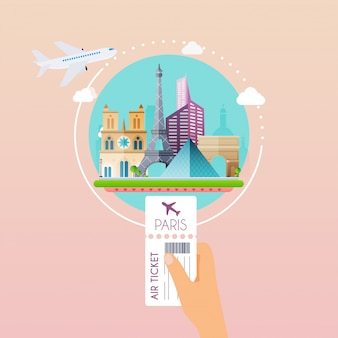 Hand holding boarding pass at airport to paris. traveling on airplane, planning a summer vacation, tourism and journey objects and passenger luggage.   modern  illustration concept.
