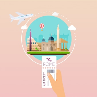 Hand holding boarding pass at airport to rome. traveling on airplane, planning a summer vacation, tourism and journey objects and passenger luggage.   modern  illustration concept.
