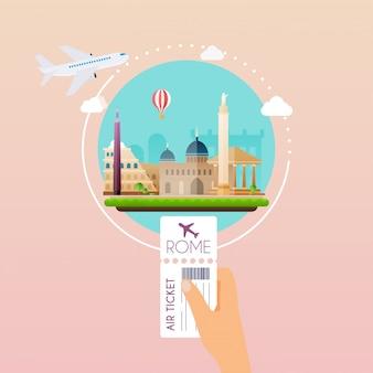 Рука посадочный талон в аэропорту в рим. путешествие на самолете, планирование летнего отдыха, туристические и туристические объекты и пассажирский багаж. современная концепция иллюстрации.