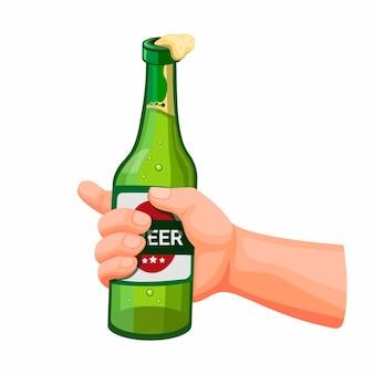 Рука держа бутылку пива, концепция алкогольного напитка в иллюстрации шаржа, изолированных на белом фоне