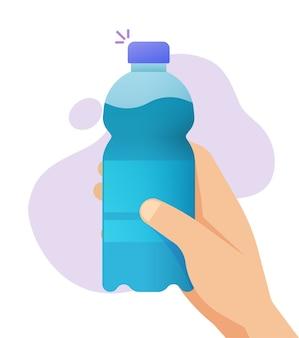 水の平らな漫画イラスト画像のボトルを持っている手