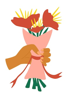 クラフト紙に包まれた花の束を持っている手。カラフルな花の束を保持し、ギフトの開花花束、お祝いイベントの花のお祝いを与える漫画の平らな人間の手。ベクター
