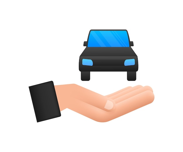 Hand holding car, great design for any purposes. cartoon vector illustration.