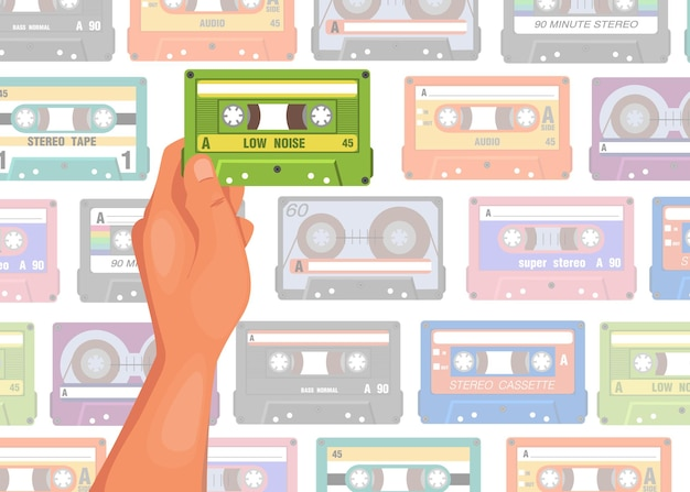 Hand holding cassette cartoon illustration. person choosing tape for listening with tape seamless pattern
